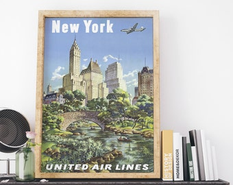 New York by United Airlines Travel by Joseph Feher Vintage USA Travel Poster Art Print