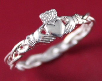 ring item tone irish womens fashion promise love claddagh bands silver titanium unisex steel mens jenia