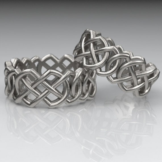Celtic Wedding Ring Set With Pointed Double Infinity Cut-Through Knotwork Design in Sterling Silver, Made in Your Size CR-204