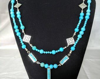 Genuine Turquoise multi strand necklace.