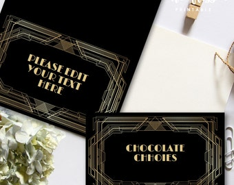 Great Gatsby Food Label | Tents Card | Editable PDF File | Instant Download | Personalize at home with Adobe Reader
