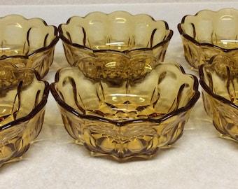 Vintage Anchor Hocking Fairfield Pattern Amber Glass Cereal/ Fruit/ Dessert Bowls Set Of 6