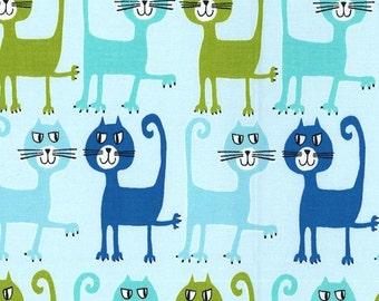 Michael Miller Fabric Dancing Cats Aqua Pets a Plenty