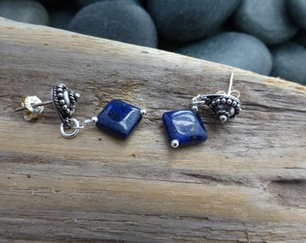 Lapis Lazuli and Silver Post Earrings