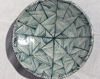 White and green triangle weave bowl