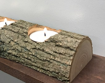 Rustic Natural Log Tea Light Candle Holder