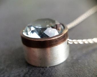 Shibuichi, Sterling Silver, and Glass Pendant