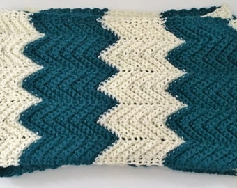 Teal and Cream Chevron Infinity Scarf