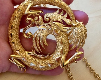1960s Crown Trifari Gold Plated Chinese Dragon Necklace Original Chain Vintage Statement Jewelry Gift Year of Dragon Chinese Horoscope