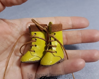 Leather boots for Blythe doll mustard-yellow and brown-yellow mustard and brown leather boots for Blythe