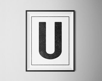 "INSTANT DOWNLOAD Letter ""U"" Printable Monogram, art print 8x10"