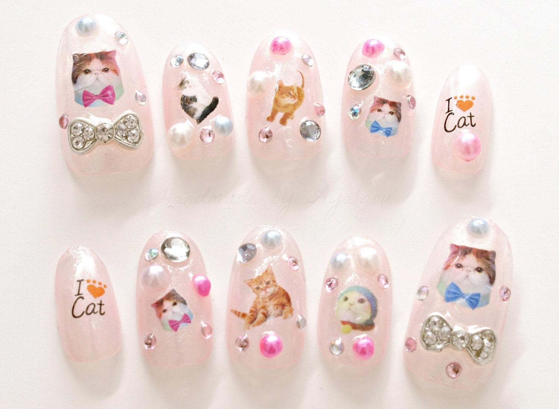 Cat nail art cat nail decal kawaii nails kitty 3D nail