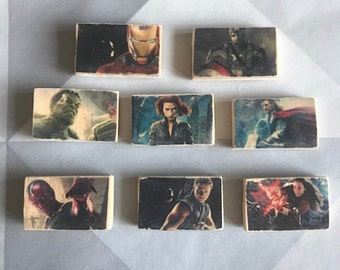 Marvel Avengers Fridge Magnets, Superhero Fridge Magnet, Wooden Magnet, Rustic, Distressed, magnet, Iron Man, Hulk, Thor, Captain America