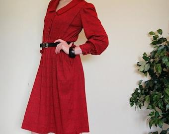 1970s Vintage Dress / Long Sleeve Dress / Winter Dress / M / Red