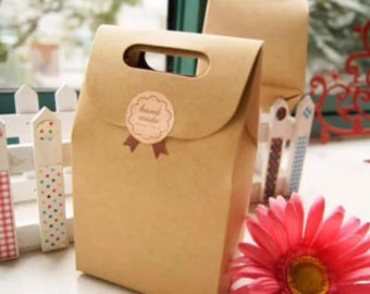 20x Kraft Paper Bag Box with Sticker - Party Treat Baby Shower Wedding Favour Cookie Lolly Chocolate Candy Christmas Gift Bag