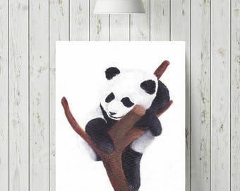 Panda Print, Sleeping Animals Prints, Nursery Animal Prints, Cute Baby Animal Nursery Art, Baby Animal Nursery Art
