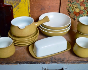 Vintage English Mustard Ochre Yellow Ode Denby Ceramic Stoneware Dining Set Plates Bowls Mugs Butter Dish Soup Dinnerware Set
