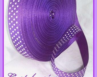 1 meter Ribbon purple polka dot grosgrain Ribbon, 10mm