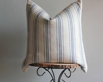 "Blue Stripe Feedsack Farmhouse Pillow Cover; Tchula Pillow Cover, 22"""