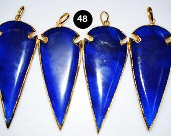 Kyanite JADE arrowhead, ARROWHEAD pendant , JADE Arrow Pendant with Electroplating  , code : 48