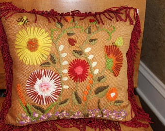 Vintage yarn embroidered burlap pillow