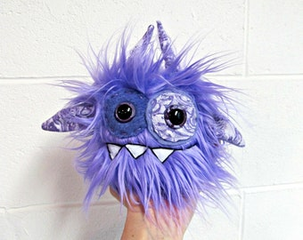 Monster Plush - Handmade Minor Monster Plushie - Lavender Purple Faux Fur - OOAK Mini Monster - Small Monster Plush - Weird Monster Soft Toy