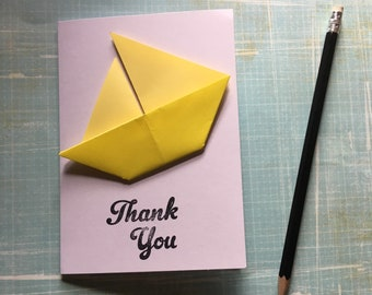 Origami greeting card - yellow sailing boat 'Thank you'