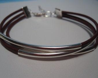 Leather Bracelet, Leather Wrap Bracelet, Black Leather Bracelet, Brown Leather Bracelet, Leather Tube Bracelet, Multi Strand, Tube, Silver