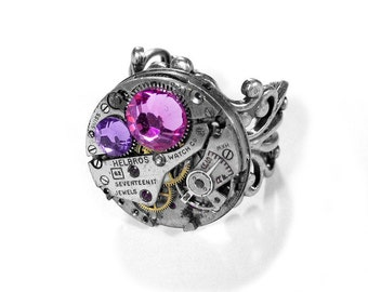 Steampunk Jewelry Ring Vintage Silver Ruby Jeweled Watch ADJUSTABLE Rose Lilac Crystals, Birthstone Jewelry STUNNING - Jewelry by edmdesigns