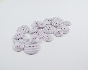 Candy Stripe Buttons - Lilac [B0023] Sewing Buttons / Knitting Buttons / Craft Buttons / Button Supplies UK