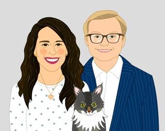 Cartoon portrait. Cartoon drawing. Custom couple portrait with pet, Custom illustration. Wedding and anniversary gift.