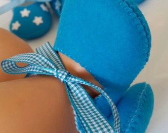 Aqua woolfelt baby shoes