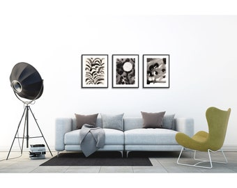 Black and White Art Set of 3 . Night Print Set of 3 . Abstract Art . Set of 3 prints . Black and White Living Room Decor
