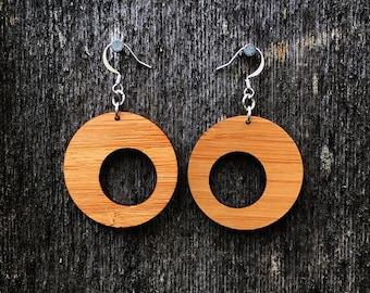 Laser cut mid century style bamboo earrings
