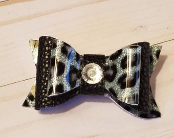Black and silver leopard print vinyl bow
