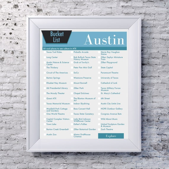 Austin Texas Bucket List Wall Art