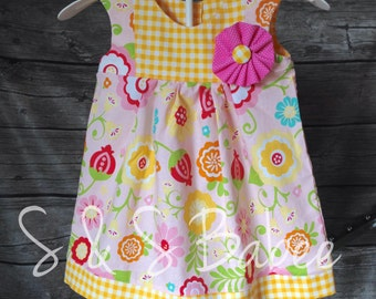 Girls / Toddler Dress, size 12 mos - 10 years, Toddler Dress, Spring Summer Dress, Easter Outfit,  Floral Dress, Nautical Dress