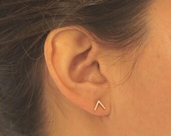 14k Gold V Stud Earring Sterling Silver Brass earrings chevron stud earrings V silver arrow post earrings geometric studs point sharp 0257