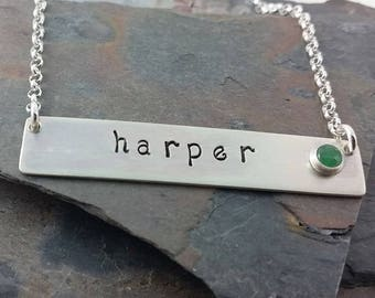 Sterling Silver Personalized Bar Necklace with Genuine Birthstone