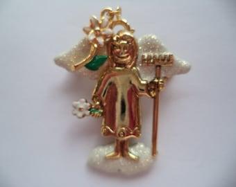Vintage Signed Danecraft Goldtone/White Sparkling Gardening Angel Brooch/Pin