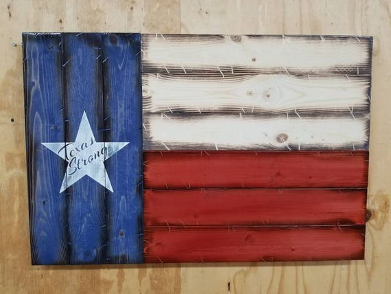 Wooden Rustic-Style Texas Strong Texas Flag