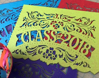 Graduation party decorations - CLASS OF 2018 papel picado banners - order in your custom school colors