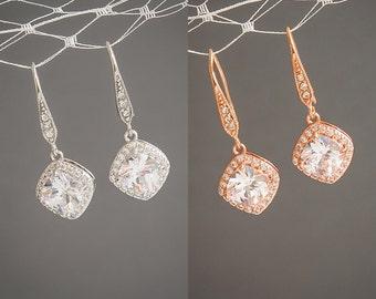 50% OFF SALE, Bridal Earrings, Rose Gold Wedding Earrings, Cushion Cut Crystal Earrings, Square Solitaire Dangle Earrings, Bridesmaid, QUINN