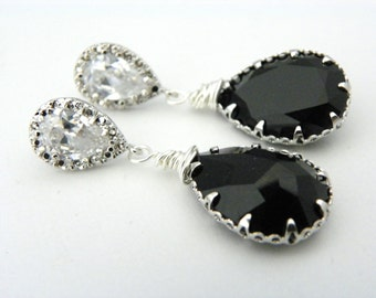 Black Crystal Earrings, Cubic Zirconia Earrings, Black Swarovski Earrings, Vintage Style, Pear Earrings, Black and White Earrings, Wedding.