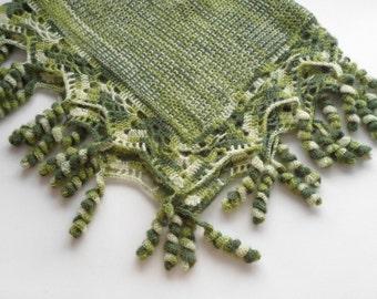 Knitted Baby Blanket, Crochet Lace Baby Blanket, Handmade Mohair Baby Blanket, Lap Blanket, Shower Gift, Gift for Mom - Shades of Green