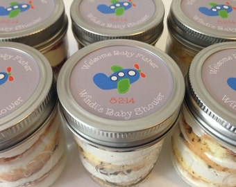 4 (8oz) Cupcakes In A Jar-Mason Jars-Baby Shower Favors-Airplane-Baby Airplane Theme-Blue-Green-Gray-Baby Boy-Baby Boy Shower-Airplane