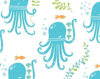 1 Yard. Monaluna. Organic Cotton Fabric. Under the Sea. Octopus Fabric.