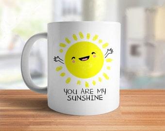 Cute Coffee Cup: You Are My Sunshine Mug | cute gift for girlfriend, cute coffee mug, ceramic mug, kawaii gift for her, girly mug, unique
