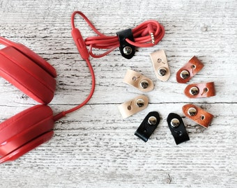 Unique Stocking Stuffers, Tech Gift - Leather Cord Organizer - Natural Leather iPhone Earbud Lightning Charger Cord Keeper Holder Organizer