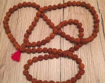 Rudraksha mala, 108 (8mm) beads Natural Rudraksha Necklace, Prayer Beads, Tribal Buddhist Yoga Necklace, Wooden Meditation Prayer Necklace